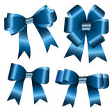The set of blue ribbon bow. On the white background Royalty Free Stock Photos