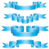 Set of blue ribbons. With perl stripes Stock Photo