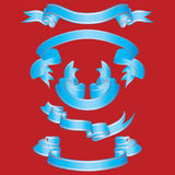 Set of blue ribbons. Set of different vector ribbons on red background Stock Image