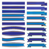 Set blue ribbons and banners  Stock Photography