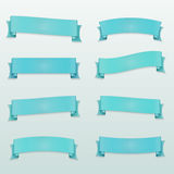 Set of blue ribbons and banners. On a light blue background Stock Illustration