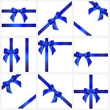Set blue ribbons and bows for gift decoration. beautiful collect Royalty Free Stock Image