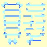 Set of blue ribbons for decoration. Vector Royalty Free Illustration