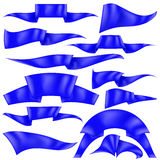 Set of Blue Ribbons. Isolated on White Background. Flag Collection Stock Image