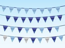 A set of blue ribbons on rope in blue background for designing house and office. Vector illustration stock illustration