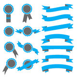Set of blue ribbons and stamps. Vector illustration Royalty Free Stock Photography