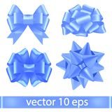 Set of blue ribbons tied in bows lush. Vector festive decorations. Realistic vector bow. Blue ribbon for boys Gifts.  Royalty Free Stock Photo