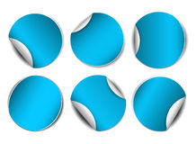 Set of blue round promotional stickers Stock Photo