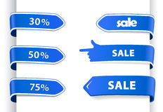 Set of blue sale labels. Stock Photography