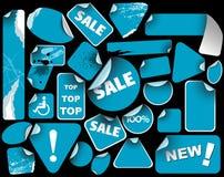 Set of blue sale labels (grunge) Royalty Free Stock Image