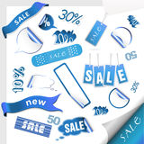 Set of blue sale tags. Royalty Free Stock Images