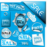 Set of blue sale tickets, labels, stamps ... Royalty Free Stock Photography