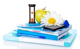 Set of blue school supplies Stock Image