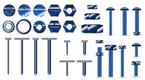 Set of blue screws and nails Royalty Free Stock Image
