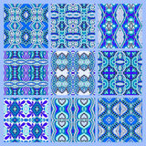 Set of blue seamless colored vintage geometric pattern Stock Images