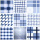 Set of blue seamless pattern Stock Photos