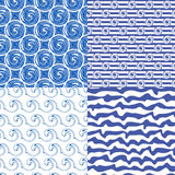 Set or blue seamless patterns. Set of four blue abstract geometrical seamless patterns. Summer backgrounds for your design.Vector illustration Stock Photo