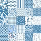 Set of 25 blue seamless patterns. Seamless pattern can be used for wallpaper, website background, textile printing Stock Photos