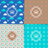 Set of blue seamless winter season patterns. Background Royalty Free Stock Photography