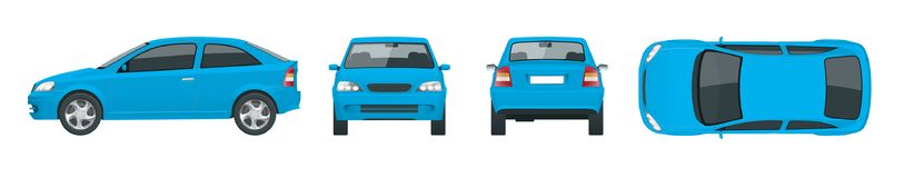 Set of blue Sedan Cars. Isolated car, template for car branding and advertising. Front, rear , side, top Change the vector illustration
