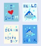 Set Blue shark card for birthday. Cartoon character with bubbles and comic inscription I love swim, ocean birthday vector illustration