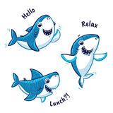 Set of blue shark cartoon character isolated on white background. Blue shark cartoon characters with text - hello, relax, lunch. Vector illustration royalty free illustration