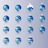 Set of Blue shiny Ball Christmas Decoration with Glossy / glowing effect stock illustration