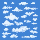Set of blue sky, clouds. icon shape. different. Collection label, symbol. Graphic element vector. design for logo, web and print. Royalty Free Stock Images