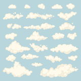 Set of blue sky, clouds. icon shape. different. Collection label, symbol. Graphic element vector. design for logo, web and print. Royalty Free Stock Image