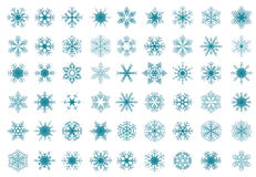 Set of blue  snowflakes Stock Images