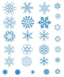 Set of blue snowflakes Stock Photo