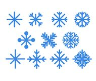 Set of blue snowflakes.Christmas design vector icons isolated on white background. Snowflake silhouettes. Symbol of snow, holiday, vector illustration