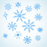 Set blue snowflakes doodle. Christmas symbol. Vector Stock Illustration