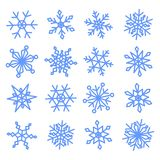 Snowflakes doodle set for your Christmas design. Set blue snowflakes doodle. 16 pieces. Vector collection stock illustration