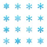 Set of blue snowflakes icon Stock Images