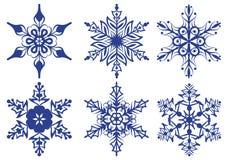 Set of blue snowflakes Royalty Free Stock Photos