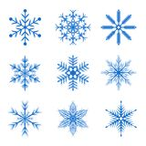 A set of Christmas snowflakes. Set of blue snowflakes for New Year and Christmas Royalty Free Stock Images
