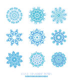 Set of blue snowflakes. Royalty Free Stock Photography