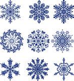 Set of blue snowflakes Royalty Free Stock Image