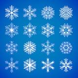 Set of blue snowflakes on white Stock Photos