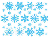 Set of blue snowflakes Stock Photography