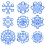 Set of Blue Snowflakes Stock Photo