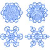 Set of Blue Snowflakes Stock Photos