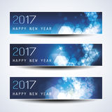 Set of Blue Sparkling Horizontal Christmas, New Year Banners - 2017 Stock Image