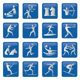 Set of blue sport icons. Set of sport, fitness, blue icons.Vector illustration Royalty Free Stock Photo