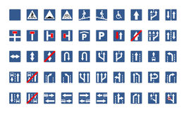 Set of blue square road signs isolated on white Royalty Free Stock Image