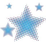 Set of blue Star in halftone. Stars icons for websites or applications isolated on white background. Vector. Illustration Stock Photos