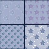 Set of blue star patterns Stock Photography