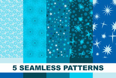 Set of blue star seamless pattern. Vector. Set  star seamless pattern . blue backgrounds Royalty Free Stock Photos