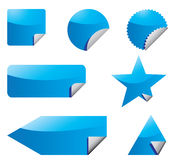 Set of blue stickers Royalty Free Stock Image